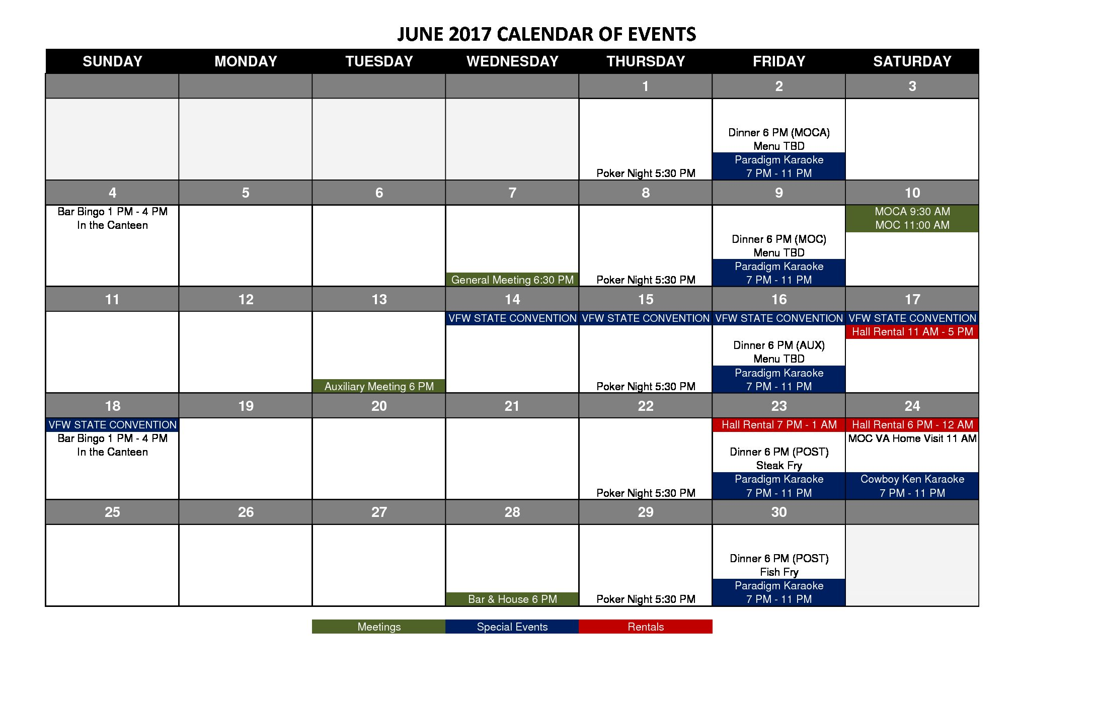 VFW 1433 Event Calendar 2017-6 June-1