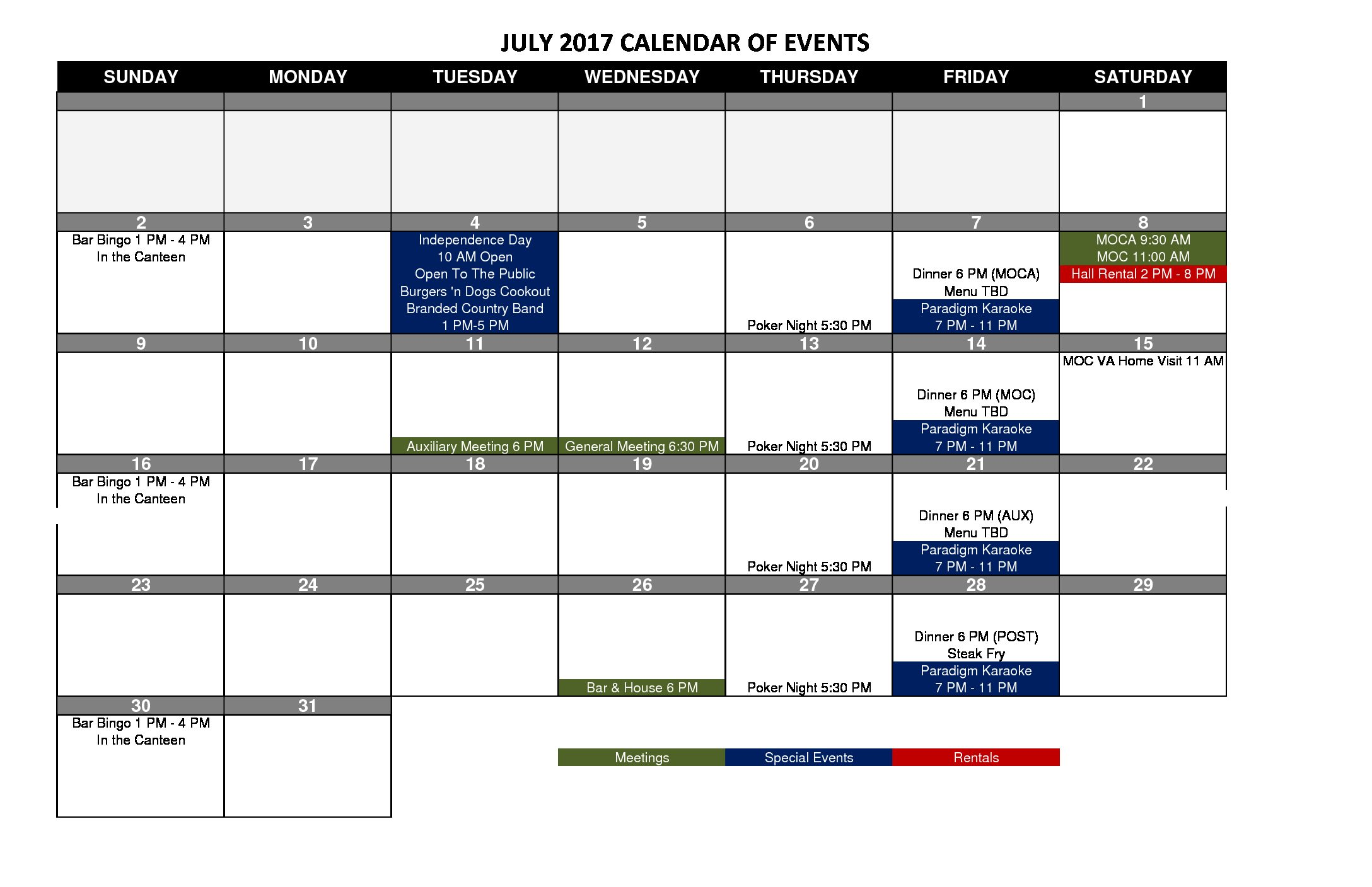 VFW 1433 Event Calendar 2017-7 July-1